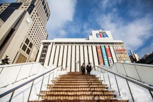 Steps up to BIC Camera Sapporo