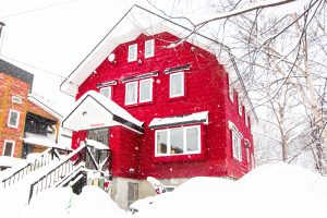 The Red Ski House outside